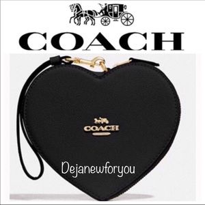 Coach Black Jumbo Heart Wristlet